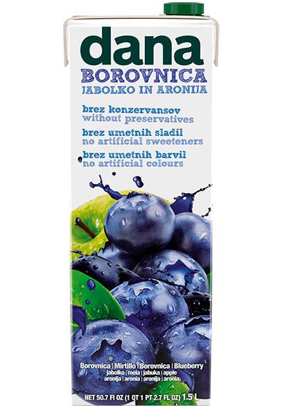 DANA voćno piće 10 %, borovnica, jabuka, aronija