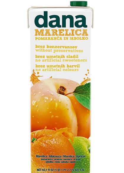 DANA sadna pijača 25 %, marelica, pomaranča, jabolko