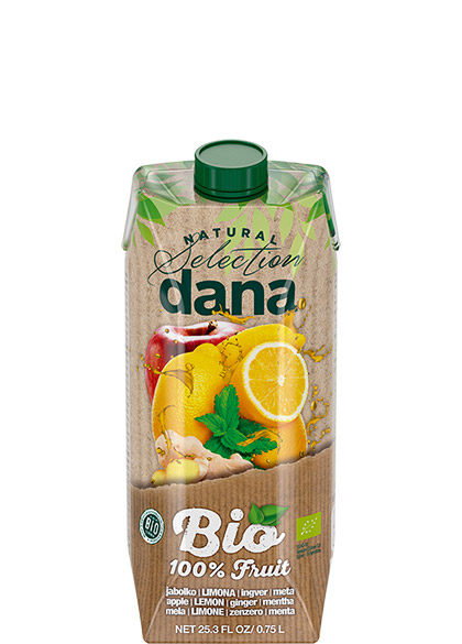 DANA ORGANIC 100% fruit drink, apple, lemon